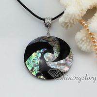 el agua de mar mosaico de arco iris de abulón redonda Pingüino concha de ostra madre de la perla collares colgantes Mop11008 joyería de moda china barata