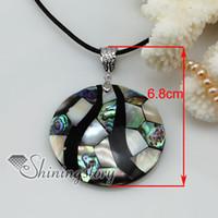 paua mosaico colgante pendientes collares de conchas de abulón de joyería de moda ronda Mop11027 china barata bisutería