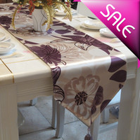 silk-like  33*180cm 33*200cm Newest Home decoration table runners with Tassels simple modern style Table Runners tablecloth purple flower Free shipping