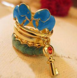 Wholesale New Comming Jewelry Set Cute Elephant Leaf Key Charms Ring Whosale Set Dozen