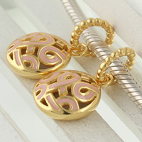 Wholesale bead Jewelry Charms Gold Beads Swing K Plated Sterling Silver Sexy Fashion Bracelet DIY GP081