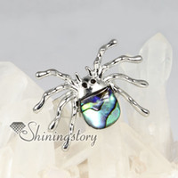 Wholesale spider seawater rainbow abalone mother of pearl seashell silver filled brass finger rings jewelry