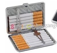 Rectangular   Black Cigarette Box Case Holder Metal Leather Gift