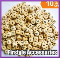 Wholesale 1000pcs mm Wood Alphabet Cube Beads diy wood embellishments craft Natural color