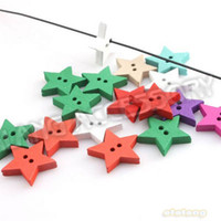 Wholesale Random Colorful Wooden Nice Stars Shape Button Charms Fit Sewing Clothes Findings