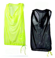Wholesale woman Dance tops dance clothing transparent gauze vest with cap woman tanks XS S M L XL XXL