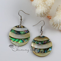 Wholesale round patchwork seawater rainbow abalone shell mother of pearl dangle earrings jewelry