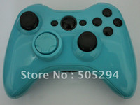 Wholesale Black and Glossy light blue FULL HOUSING SHELL kits FOR XBOX CONTROLLER Controller with black bu