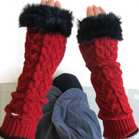 Wholesale S5Q Fingerless Gloves Arm Warmer Extra Long Winter Fuax Fur Mittens Knitted Ribbed AAABDL