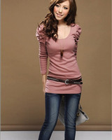 Wholesale Women s Good Elastic Puff Long Sleeve T Shirts Ladies Top Wear Lady Clothes O Neck Dro