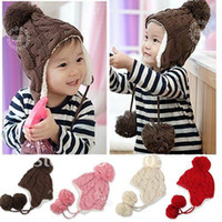 2-4 Years Crochet Hats choose below G1533 cute baby earflap warm knitted winter Crochet hat with lovely balls 5 colors Free shipping