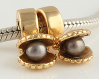 Wholesale Gold Beads K Plated bead Jewelry Charms SILVER Black Pearl Bracelet Supplies GP091