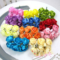 Wholesale Colorful Artificial Paper Rose Flower Wedding Favors Candy Boxes DIY Accessory cs bags