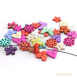 Wholesale 5 Mixed Shape amp Random Colorful Wooden Button Charms Fit Sewing Clothes Findings