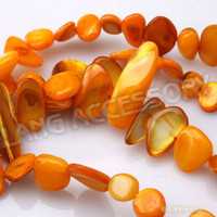 Wholesale Nice Yellow Irregularity Shell Beads Necklace Jewelry Charms Findings Length cm string