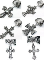 Wholesale 30pcs antique silver crystsal cross pendant scarf charms jewelry in styles mixed