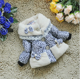 Wholesale New Winter Girls Baby Leopard Fur Coats Korean Small Flowers Girl Kids Bowknot Baby Down Coats