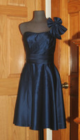 Wholesale New style Navy blue one shoulder with bow and sash satin a line knee length bridesmaid dresses