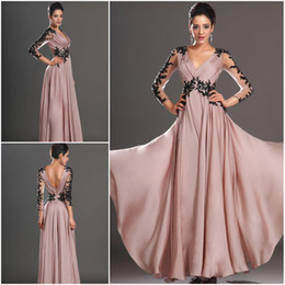 Wholesale Peal Pink V neck Sheath Full length Chiffon Applique Lace long sleeves Evening dresses Prom dress