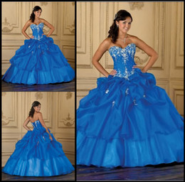Wholesale New Stock Blue Applique Ball Gown Quinceanera Dresses Prom Evening Dress Bridal Gowns
