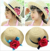 Wholesale 2013 new Children s hat straw hat sunbonnet natural straw hat baby summer cap colors mixed