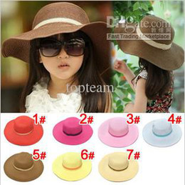 Wholesale new Children s hat Hot style baby girl straw sunhat for kids beach cap color mixed DHL FREE