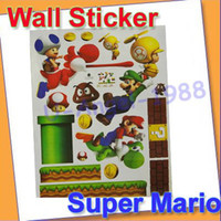 Wholesale New Super Mario Bros PVC Removable Wall Sticker Home Decor For Kids Room FG012