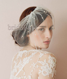 Wholesale Elegant Wedding Pearls Hats Birdcage Bridal Face Veil