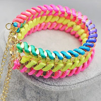 Wholesale String Wrap Bracelets Fluorescence color wrap rope women handmade Bracelet cheap Fashion Jewelry