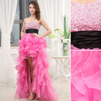 Model Pictures black and pink prom dress - 2014 Best Hi Lo Pink and Black Prom Dresses New Sweetheart Neckline Beaded Sequins Short Front Long Back Graduation Homecoming Gowns