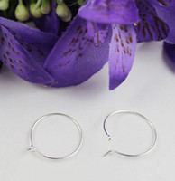 200PCS Silver Plate Wine Glass Charm Wire Hoop Earings 20mm ...