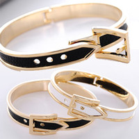 Wholesale Belt Bangle Korean leather Belt Bracelets gold Bangle adjustable Bangle cheap Fashion Jewelry Bangle