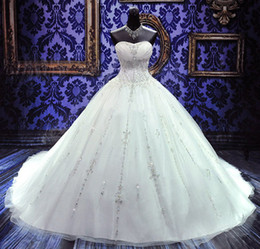 Wholesale On Sale Stunning Custom Made Crystal Adorned Bridal Sweetheart Cathedral Train Ivory White Ball Gown Wedding Dress with beading