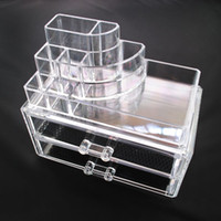 acrylic jewellery box - 24pcs with retail package Clear Acrylic Cosmetic Jewellery Organizer Makeup Box Case SF