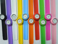 Wholesale Fashion Children Women s Silicone Slap Snap Watch Jelly Quartz Watch Mix Color Free Ship