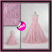 2015 Plus Standard Size Strapless Sweetheart Pink Alenon Lac...