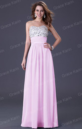 Wholesale Grace Karin Empire Rhinestone Formal Evening Dresses Backless A line Party Prom Dress CL3424