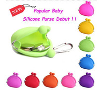 Wholesale Lady girl woman Silicone Round Coin Purses Wallet Lovely mini money Bag Rubber Card Key Phone Bag