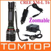 Wholesale 1600 lumen flashlight CREE XM L T6 LED Flashlights Zoomable Convex Lens Torch lamp car charger H9159