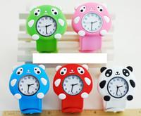 al por mayor snap niños relojes-Panda 3D Silicona Snap Slap Relojes Chica Chica Jalea Niños Baratos Candy Moda Unisex Niños De La Historieta