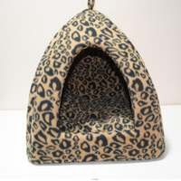 Wholesale Leopard Pet Dog Cat House Bed Covers Nest Puppy Beds Yurt Warm Kennel Soft Waterproof Pet Supplies