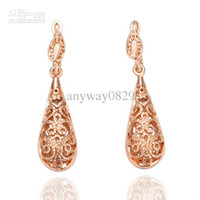 18K Rose Gold Plated Party Crystal, Rhinestone Wholesale Fashion Jewelry Xmas Gift 18K Rose Gold Plated Retro Hollow-carved Earring For Women EH016