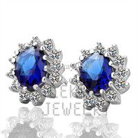 Wholesale Xmas Gift New Fashion Jewelry K White Gold Plated Blue CZ Gemstone Crystal Earring For Women EH027