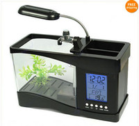 Wholesale Beautiful USB Desktop Aquarium Fish Tank with LED Light Alarm clock and Calendar