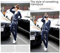 Wholesale New Girls Women BASIC TRACK SUIT Hoodie Jacket Long Pants Set SPORTS Bule