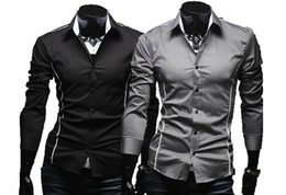 Wholesale 2012 Korean Men s Fashion Stylish Casual Trim Slim Fit Dress Shirts Long Sleeve Shirt