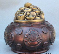 Wholesale Lucky Chinese Fengshui Pure Bronze Treasure Money Wealth Bowl cornucopia Statue