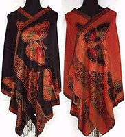 Wholesale 2013 Black Newest Style Bauhinia Double Side Cashmere Pashmina Shawl One size