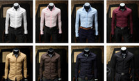 Dress Shirts Cotton Blend Casual 2012 New Fashion Style Men's shirts mens dress shirts Long Sleeve Shirts silk shirts for men 10pcs