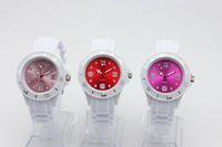 Cara multicolor reloj blanco España-Bandas blancas + Colores Caras jalea del silicón de la manera niños 38MM caramelo de cuarzo 100pcs / lot